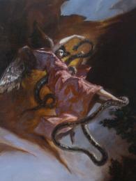 JA09 - ANGE AUX PRISES AVEC LE SERPENT / 70 x 60 huile sur toile / 1300 €