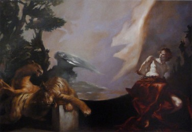 JA11 - DANIEL DANS LA FOSSE AUX LIONS / 150 x 100 huile sur toile / 3000 €