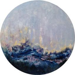 AQUA FORTIS / Huile sur toile tondo / Diamètre 50 / 500 € Ambiance liquide pour cette toile d'inspiration maritime. L'eau et le ciel viennent s'embrasser sous les embruns. La mer agitée depuis le hublot d'un paquebot ?