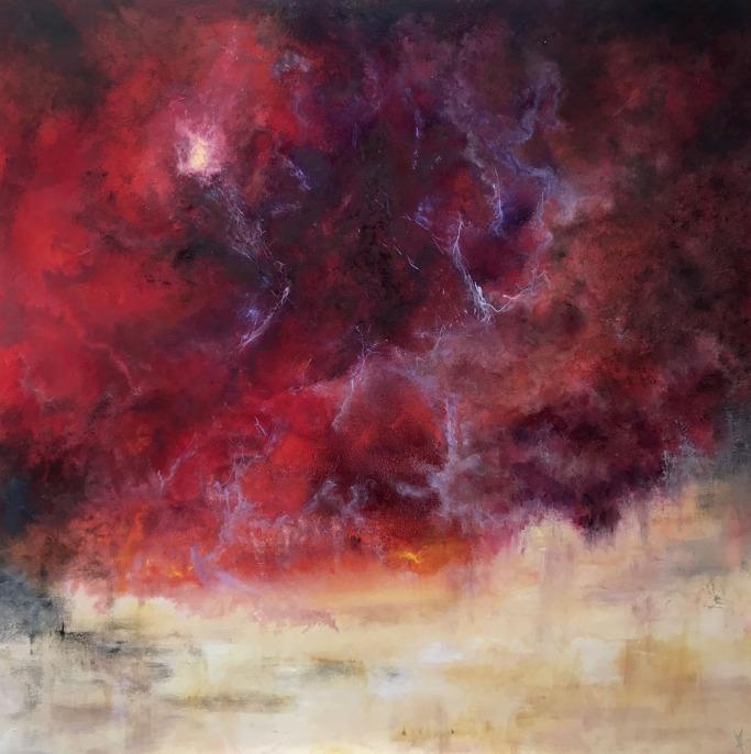DIES IRAE / Huile sur toile / 100 X 100 / 1800 € Un ciel d'orage, fureur des éléments, un chant de colère s'élève de la terre ... Rougeoiement de l'ire divine qui s'abat sur le monde