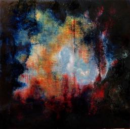 LAST EXIT / Huile sur toile / 100 X 100 / 1800 € Le chaos du monde mais, par-delà le désastre d'une apocalypse survenue, une lueur d'espoir, un coin de ciel bleu comme une bouffée d'air pur au milieu d'un amoncellement de ruines encore fumantes.