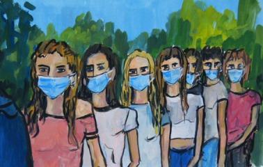 LES JEUNES COLLEGIENNES AUX MASQUES (Pandémie 2020) / Peinture à l'huile sur papier fort / 35 X 50 / 650 € (cadre sous-verre)