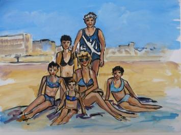 L'ETE, LA FAMILLE SUR LA CÔTE D'OPALE / Peinture à l'huile sur papier fort / 42 X 32 / 700 € (cadre sous-verre)