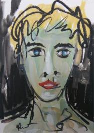 VISAGE D'ADOLESCENT / Peinture à l'huile sur papier fort / 40 X 30 / 400 € (cadre sous-verre)