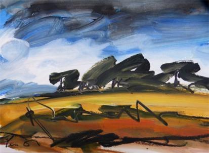 PAYSAGE DU NORD, CIEL CHARGE / Peinture à l'huile sur papier fort / 50 X 60 / 600 € (cadre sous-verre)