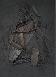 PEELS / Collage sculptural abstrait. Toile sur châssis 3D (épaisseur environ 4 cm) / 70 X 50 / 600 €