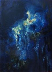 SELENE / Huile sur toile / 70 X 50 / 650 € Derrière les nuages, la lune surgit, Séléné déesse antique. Mystère et profondeur d'une ambiance nocturne