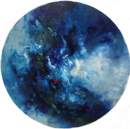 COSMOGONIE / Huile sur tondo / diamètre 50 / 500 € Profondeur du bleu, légèreté des blancs, la création d'un monde...