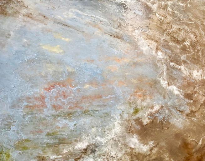 EMBRUNS / Huile sur toile / 100 X 80 / 1700 € L'écume jaillit sur la toile, une vague déferle.