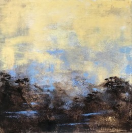 VOYAGE A NARAYAMA / Huile sur toile / 50 X 50 / 500 € Paysage inventé d'inspiration japonisante ; entre ciel et terre, une lumière douce à travers la brume , quelques arbres accrochés au flanc d'une montagne devinée.
